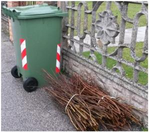 Bidone carrellato da 240 litri per la raccolta porta a porta di erba e ramaglie